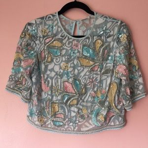 River Island Tops - River Island Pastel Sequin Blouse